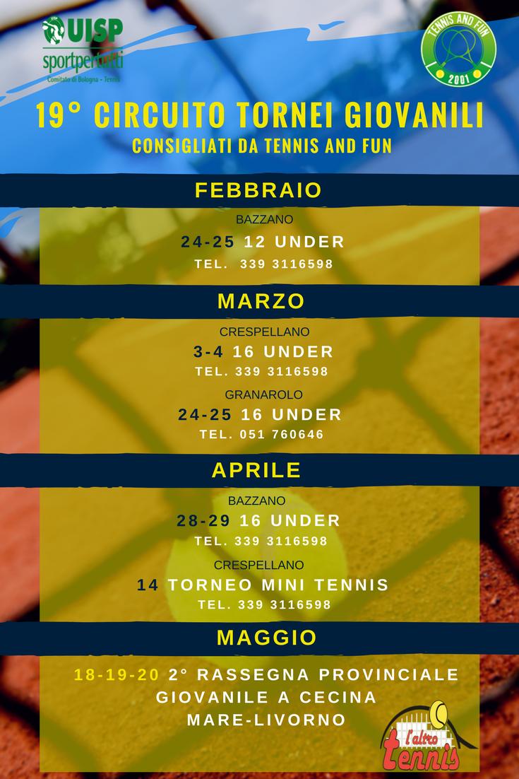 volantini per tornei individuali seniores e juniores (con date in valsamoggia e granarolo, quelli delle stampe)